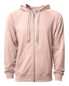 Rose Unisex Lightweight Loopback Terry Zip Hood