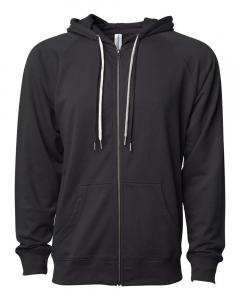 Black Unisex Lightweight Loopback Terry Zip Hood