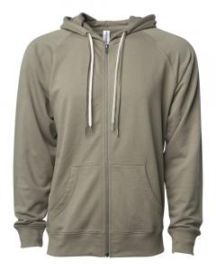 Olive Unisex Lightweight Loopback Terry Zip Hood