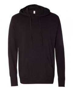 Black Unisex Lightweight Hooded Pullover T-Shirt
