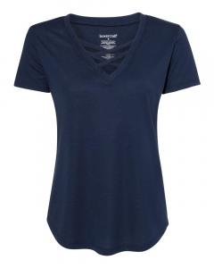 Navy Women's Cage Front T-Shirt