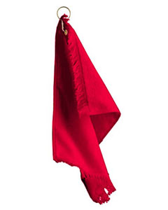 Red Fringed Fingertip Towel With Corner Grommet and Hook