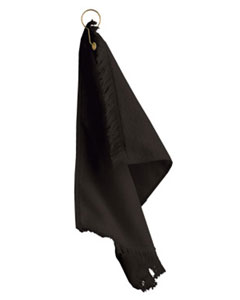 Black Fringed Fingertip Towel With Corner Grommet and Hook