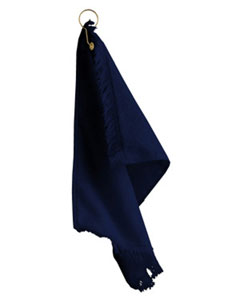 Navy Fringed Fingertip Towel With Corner Grommet and Hook
