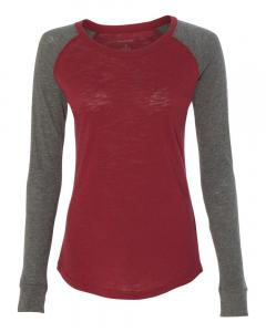 Garnet/ Granite Women's Preppy Patch Slub Long Sleeve T-Shirt