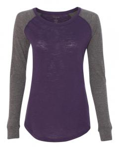 Purple/ Granite Women's Preppy Patch Slub Long Sleeve T-Shirt
