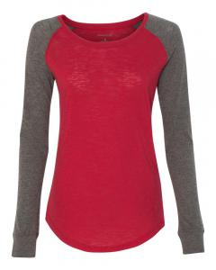 Red/ Granite Women's Preppy Patch Slub Long Sleeve T-Shirt