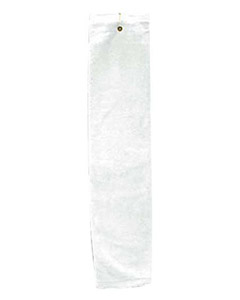 Silver Deluxe Tri-Fold Hemmed Hand Towel With Center Grommet and Hook