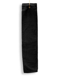Black Deluxe Tri-Fold Hemmed Hand Towel With Center Grommet and Hook