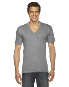 Athletic Grey Unisex Triblend Short-Sleeve V-Neck