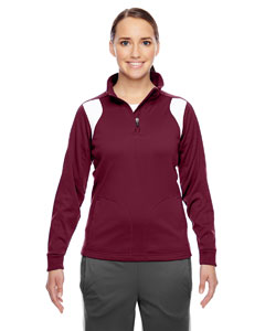 Sp Maroon/wht Ladies' Elite Performance Quarter-Zip