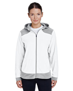 White/ Sp Silver Ladies' Rally Colorblock Microfleece Jacket