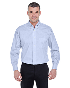 Light Blue Men's Long-Sleeve Performance Pinpoint