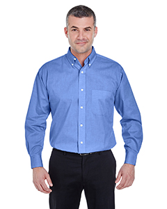 French Blue Men's Long-Sleeve Performance Pinpoint