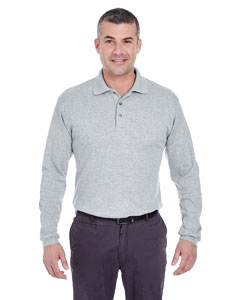 Heather Grey Men's Egyptian Interlock Long-Sleeve Polo