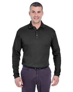 Black Men's Egyptian Interlock Long-Sleeve Polo