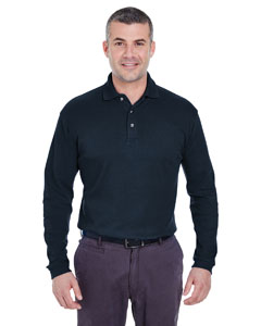 Navy Men's Egyptian Interlock Long-Sleeve Polo