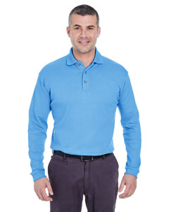 Cornflower Men's Egyptian Interlock Long-Sleeve Polo
