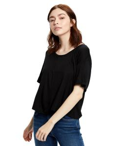 Black Ladies' 4.2 oz. Boxy Open Neck Top