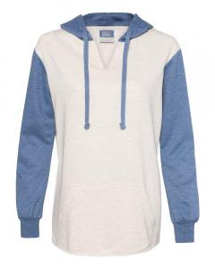 Stonewash/ Oatmeal Women's French Terry Hooded Pullover with Colorblocked Sleeves