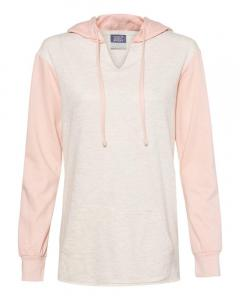 Cameo Pink/ Oatmeal Women's French Terry Hooded Pullover with Colorblocked Sleeves