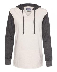 Charcoal/ Oatmeal Women's French Terry Hooded Pullover with Colorblocked Sleeves