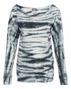 Black Women's French Terry Off-the-Shoulder Tie-Dyed Sweatshirt