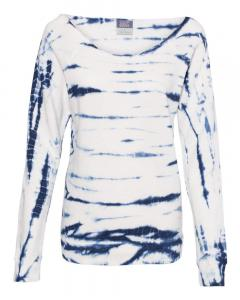Navy Women's French Terry Off-the-Shoulder Tie-Dyed Sweatshirt