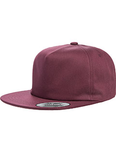 Maroon Adult Unstructured 5-Panel Snapback Cap